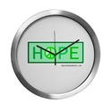 Hope for Peace green modern clock